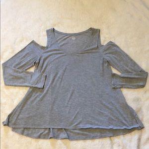 Gray Long Sleeve Cold Shoulder Top